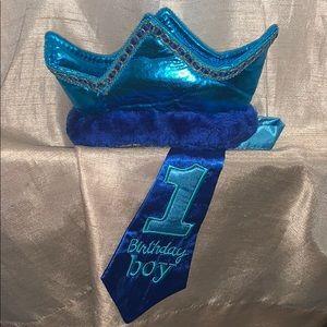 First birthday boy crown tie